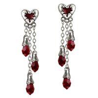 Offiziell Alchemy Gothic Blutendes Herz Zinn Ohrhänger - Rot Silber Lang