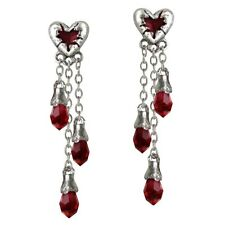 Official Alchemy Gothic Bleeding Heart Pewter Drop Earrings - Red Silver Dangle