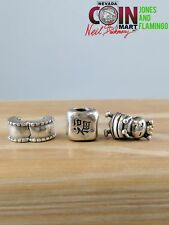 LOT OF 3 PANDORA SIGNED STERLING (.925) SILVER 14KT GOLD CHARMS  #16265