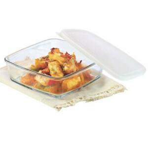 Borosil Square Glass Baking Dish With Lid 500ml Microwave Safe & Oven Safe