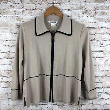 Exclusively Misook Petite Womens Zip Front Jacket Tan Beige Black Trim Medium