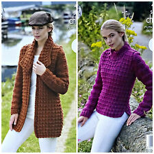 KNITTING PATTERN Ladies Easy Knit Textured Coat & Jumper Super Chunky 4707