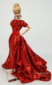 Eaki Handmade Red Evening Dress Outfit Gown Fit Silkstone Fashion Royalty FR