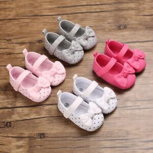 Newborn Baby Girl Pram Shoes Infant Child Soft Sole Bowknot Dress Shoe 3 6 9 12