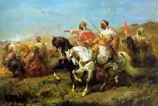 Oil painting Adolf Schreyer - the skirmish in the half light of dawn landscape