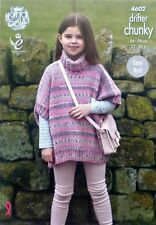 Knitting Pattern Girls Easy Knit Round Neck Poncho Chunky King Cole 4602