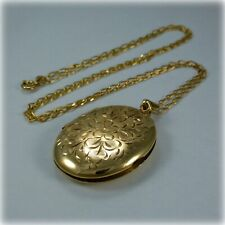 """9ct Gold Hand Engraved Oval Locket on 24"""" Gold Curb Link Chain"""