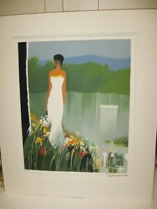 1999 Emile Bellet Signed Limited Ed. No. 440, Lady in White, Matted with Frame