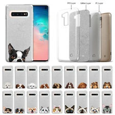 "For Samsung Galaxy S10 G973 6.1"" Dog Cat Silver Glitter Clear Tpu Cover Case"