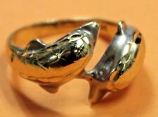 CUTE 14K SOLID yellow Gold RING TWO DOLPHINS COUPLE twins friends Sz 5.25 girl