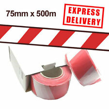 12 Roll Non Adhesive Red/White Hazard Warning Barrier Tape 75mm x 500m 24 HOUR