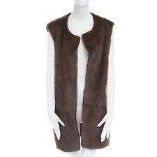 ISABEL MARANT brown muskrat fur front alpaca wool blend back sleeveless vest XS