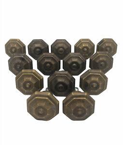 "14 Metal Drawer Knobs Bronze w/Copper Hi Lites & Screws 1.5"" Wide Octagonal NICE"