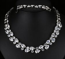 14k White Gold GF Necklace made w Swarovski Crystal Diamond Stone Bridal Jewelry
