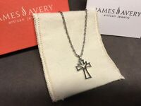 James Avery 925 Sterling Silver Descending Dove Cross Pendant Rope Necklace 17""