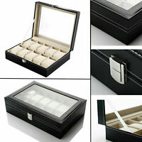 10 Grids Leather Watch Case Jewelry Collection Storage Holder Glass Display Box.