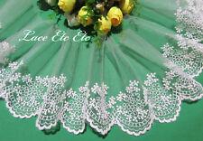 Milk White Embroidered Lace Trim. For Doll Baby Bridal Evening Tu Tu. 12 cm W 1M