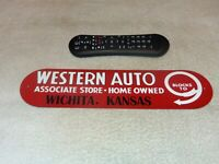 "VINTAGE WESTERN AUTO ASSOCIATE STORE WICHITA, KANSAS 13"" METAL GASOLINE OIL SIGN"
