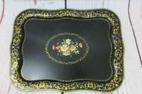 Vintage Large Toleware Tole Metal Floral Hand Painted Tray 22'' x 16''.