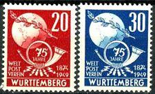 Germany Wurttemberg 1949 Goethe S/P Issues Set of 3 Scott's 8NB9 -8NB11 MNH