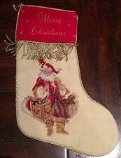 Red Velvet Wool Needlepoint Christmas Stocking, Old World Santa with Gold Trim