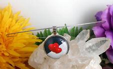 Edelstahl Halsreif mit Glas Cabochon Anhänger Amulett Motiv:  Herz
