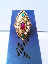 Indian Traditional Latest Pearl Design Gold Plated Finger Ring Band Nice Jewelry