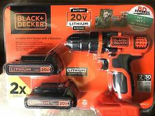 NEW Black & Decker 20V Cordless Drill Driver + 2 Lithium Ion Batteries & Charger