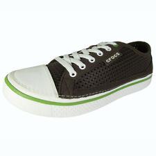 Crocs Mens Crosmesh Hover Lace Up Cap Toe Sneaker Shoes, Espresso/White, US 7