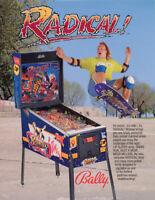 Bally RADICAL 1990 Original NOS Flipper Game Pinball Machine Flyer Skateboarding