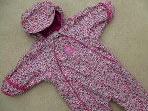 WARM 🌺 JOJO MAMAN BEBE 🌺 Waterproof Fleece Lined All In One SNOWSUIT 3-6m Pink