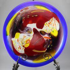 """Art Glass Platter & Holder Exquisite Piece SDS Wall Hanging Hand Blown near 20"""""""
