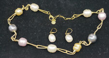MAJORICA GOLD VERMEIL STERLING SILVER NECKLACE & EARRINGS w COLOR BAROQUE PEARLS