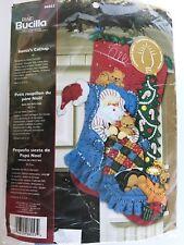 "*New* BUCILLA Santa's Catnap 18"" Felt Christmas Stocking WITH LIGHTS Kit 86053"