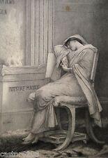 GRAVURE Jules LEFEBVRE Vestale endormie 22,5 x 15,7 cm Adrien DIDIER
