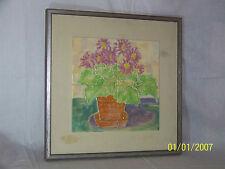 "Harris G. Strong Listed Artist Hand Made Art Pottery Tiles""Begonia"" Framed ""COA"""