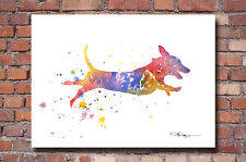 Dachshund Art Print Contemporary Abstract Watercolor Painting Dog Wall Decor