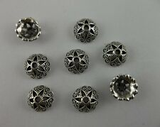 50Pcs Tibet silver Style Flower End Beads Caps Craft Findings 9x3mm