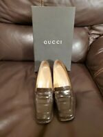 GUCCI WOMEN'S LEATHER COFFEE BEAN/DARK BROWN  LOAFERS SHOES SIZE 6 B