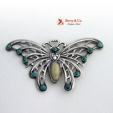 Large Butterfly Brooch Pin Sterling Silver Turquoise Agate Vintage 1960s