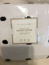 Pottery Barn Teen Tufted Dot F/Q Duvet Cover NEW White & Black Full/Queen