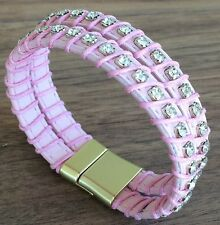 Reflections Pink Double Strand Leather Cuff Bracelet w/ Magnetic Clasp