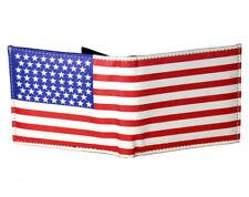 Mens USA American Flag Print Bifold Genuine Leather Wallet ID Window Credit Card
