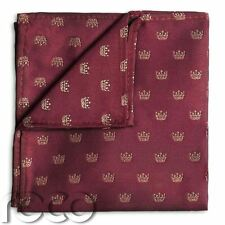 Boys Burgundy Hanky, Boys Crown Print Pocket Square, Boys Handkerchief