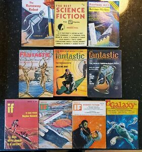 10 Vintage Science Fiction, Fantasy, IF, Galaxy, Fantastic Magazine Lot