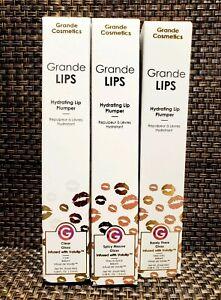 GRANDE COSMETICS Hydrating Lip Plumper Trio in Clear, Spicy Mauve & Barely There