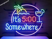 New It's 5 O'clock 5:00 Somewhere Neon Sign Beer Bar Pub Light FREE SHIPPING
