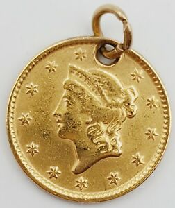 1849-54 United States Liberty Head Gold Dollar Coin Jewelry Pendant 1.5g