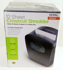 Royal 12 Sheet Cross Cut Paper Shredder Heavy Duty With Casters Model 1250x