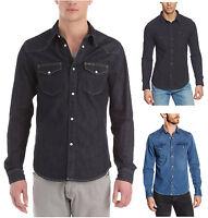 Lee Western Denim Shirt New Men's Black Dark Indigo Blue Jean Shirts Regular Fit